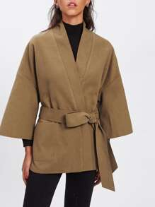 Self Tie Drop Shoulder Kimono Coat