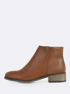 Round Toe Faux Leather Zip Up Boots COGNAC