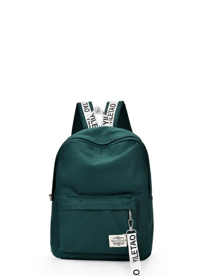 Letters Printed Zipper Front Canvas Backpack