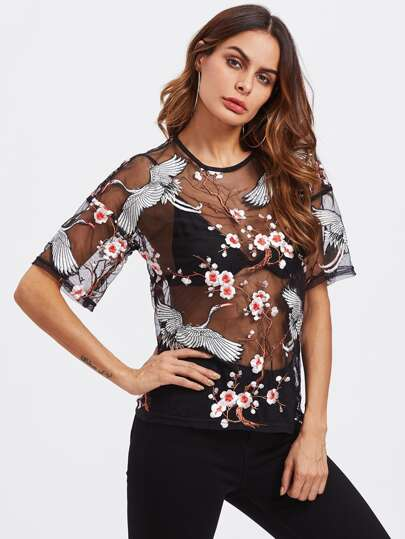 Flower Blossom And Crane Bird Embroidered Mesh Top