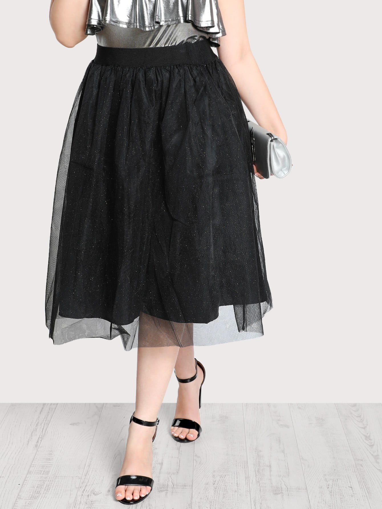 Image of High Rise Glitter Tulle Skirt