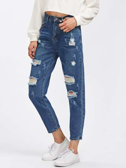 Distressing Ankle Jeans