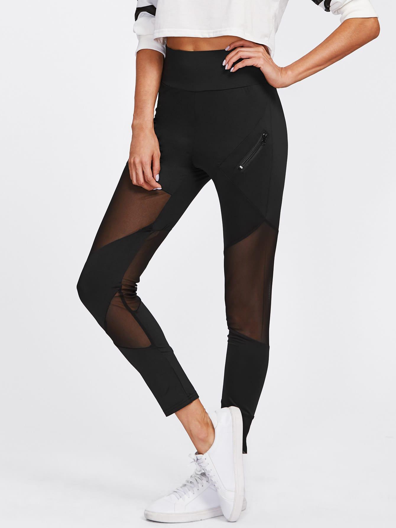 Sheer Mesh Panel Zip Up Detail Leggings