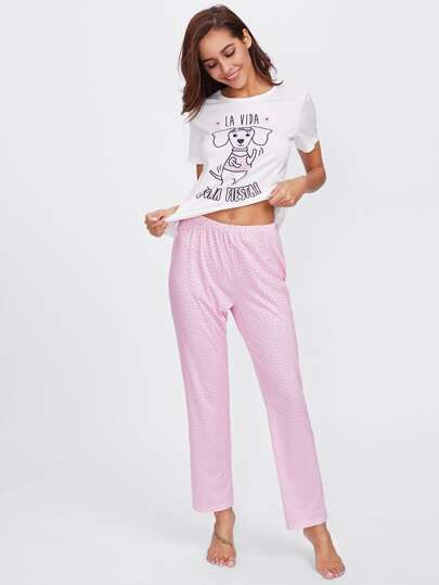 Dog Print Tee And Floral Pants Pj Set