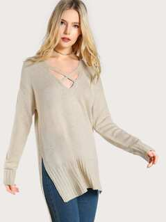 Criss Cross Long Sleeve Knit Sweater CREAM