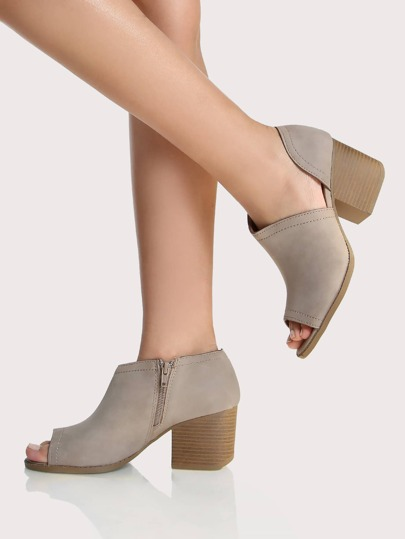 Side Cut Out Peep Toe Booties TAUPE
