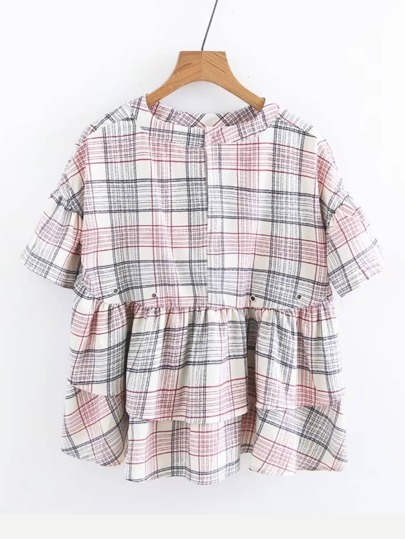 Tiered Plaid Babydoll Blouse