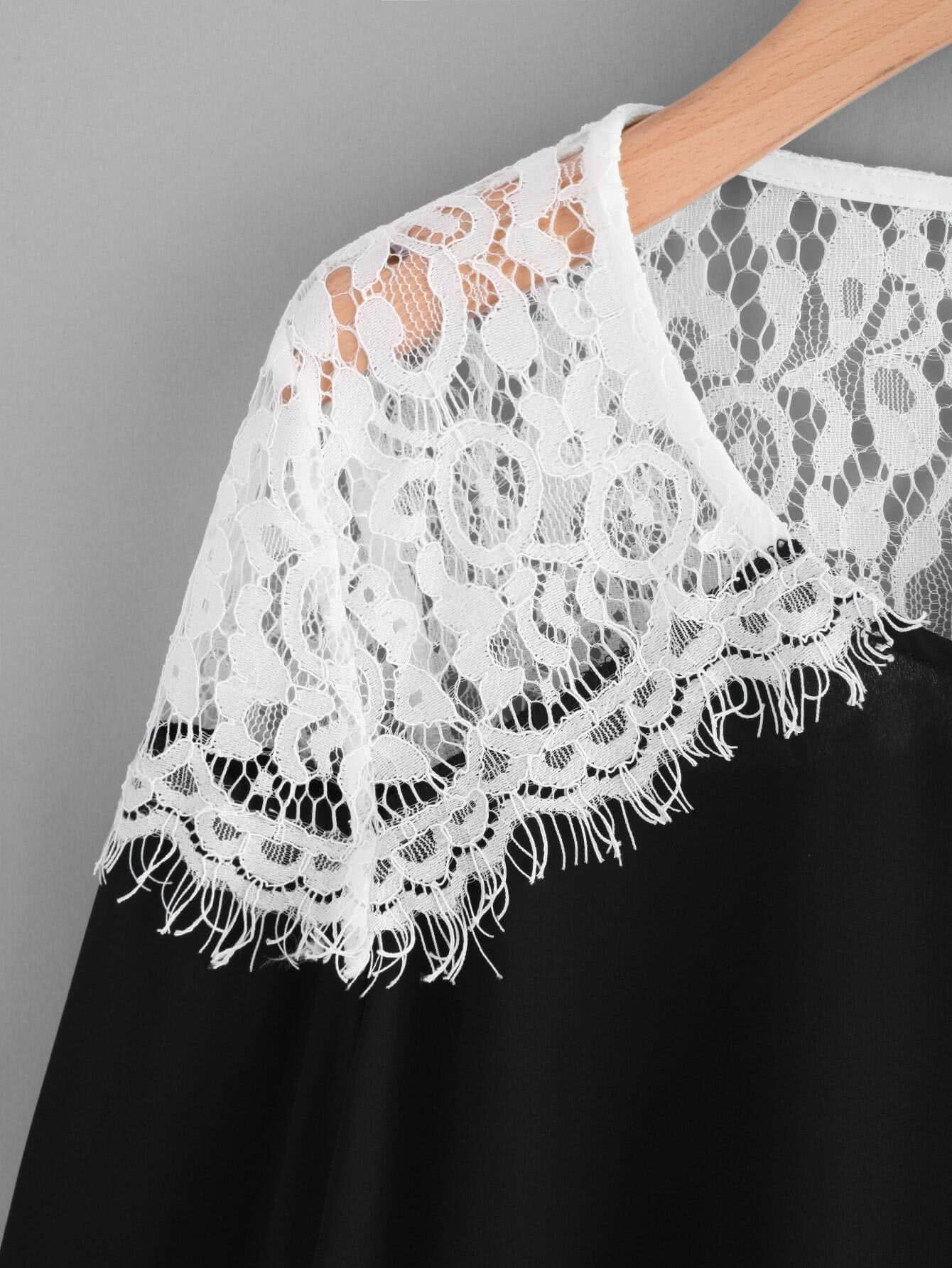 Lace Crochet Contrast Bell Sleeve Blouse