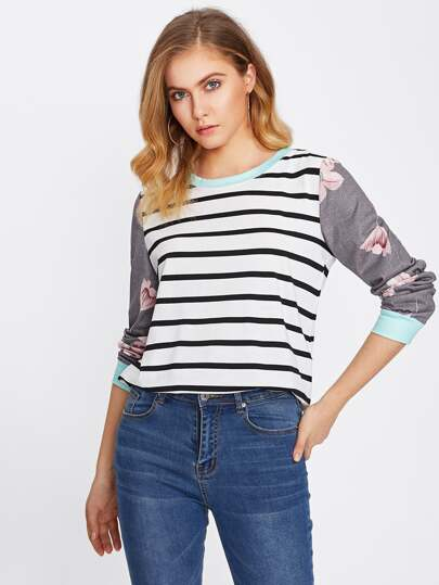 Floral Sleeve Striped Tee