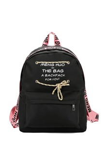 Letter Print Lace Up Zipper Pocket Backpack