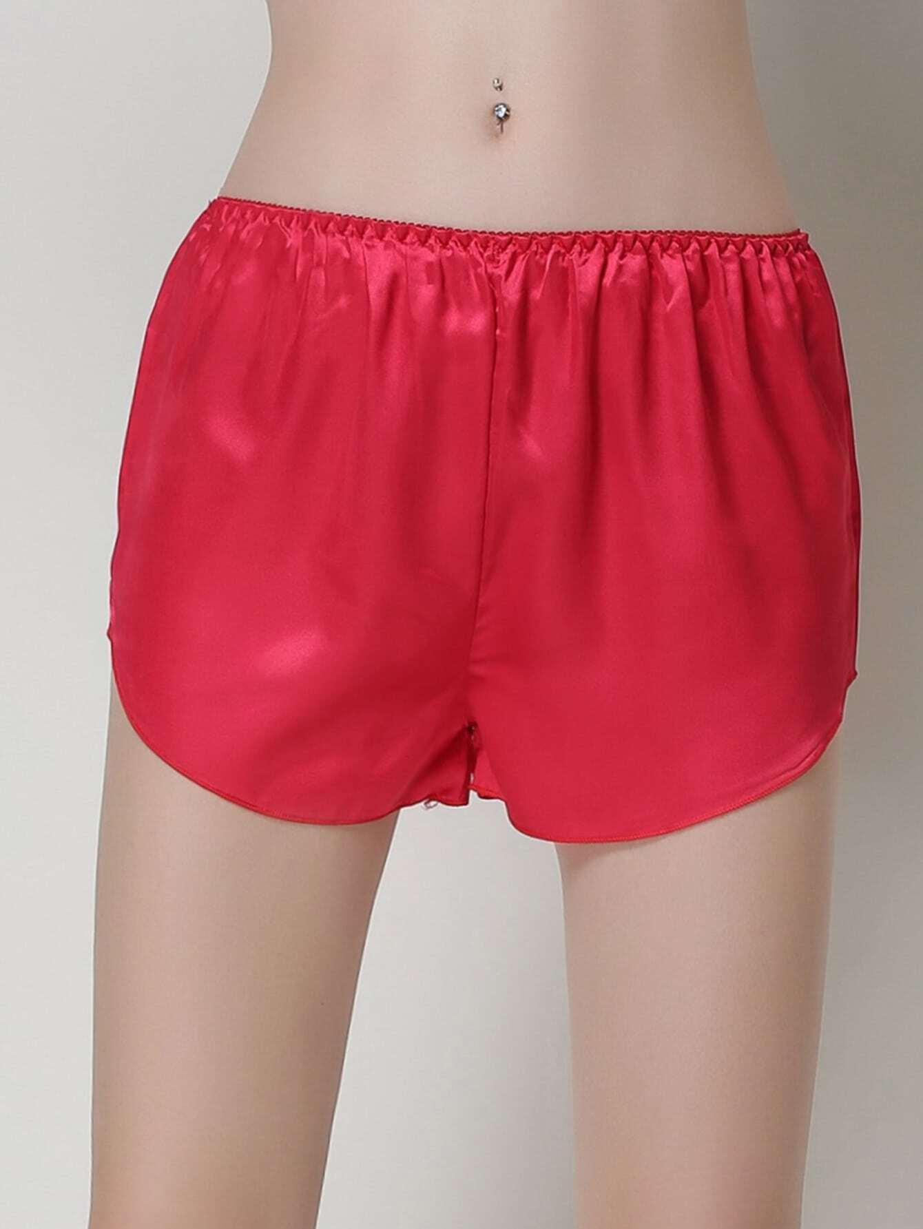 Satin Dolphin Hem Shorts