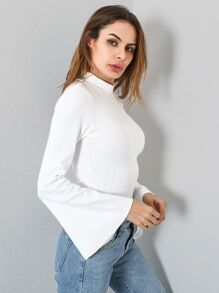 Mock Neck Fluted Sleeve Tshirt