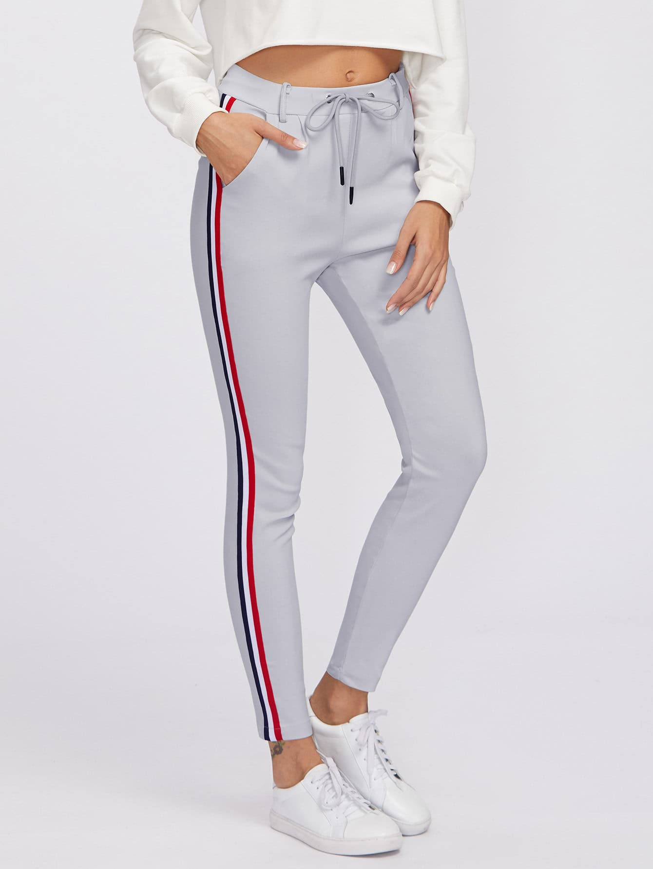 Image of Striped Tape Side Drawstring Waist Sweatpants