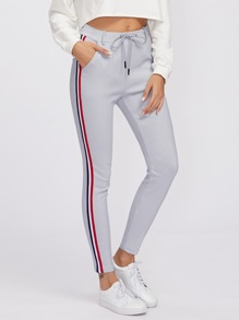 Striped Tape Side Drawstring Waist Sweatpants