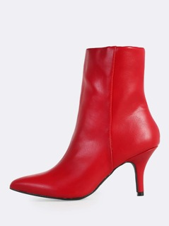 Patent Pointy Toe Heeled Booties RED