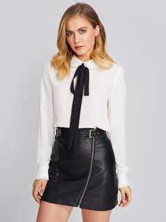 Frilled Detail Cuff And Neck Bow Front Blouse
