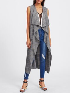 Patch Pocket Front Plaid Waterfall Vest