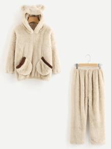 Bear Ear Hooded Top And Pants Pajama Set