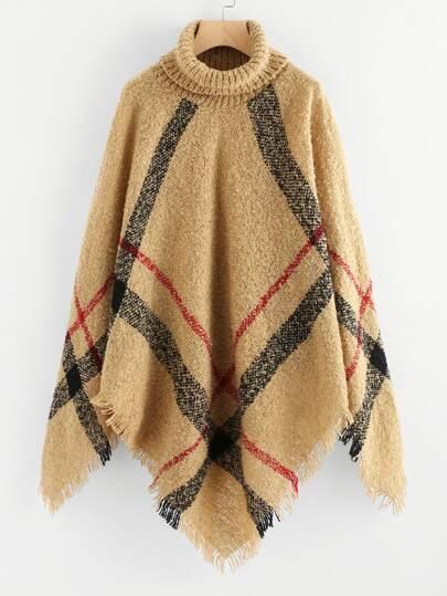 Turtleneck Checked Fringe Poncho Sweater