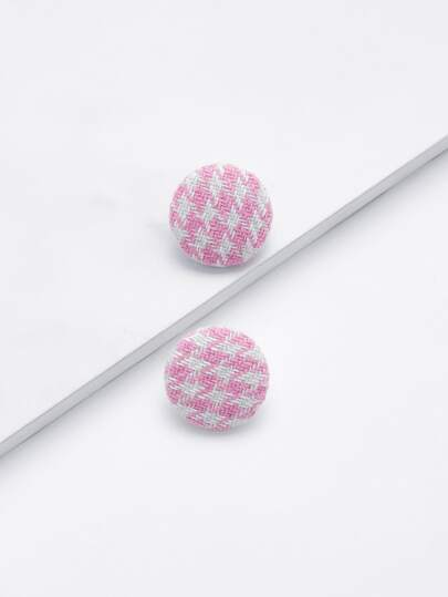 Houndstooth Round Stud Earrings