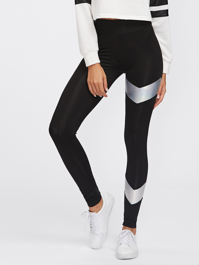 Metallic Chevron Leggings mit Panel Detail