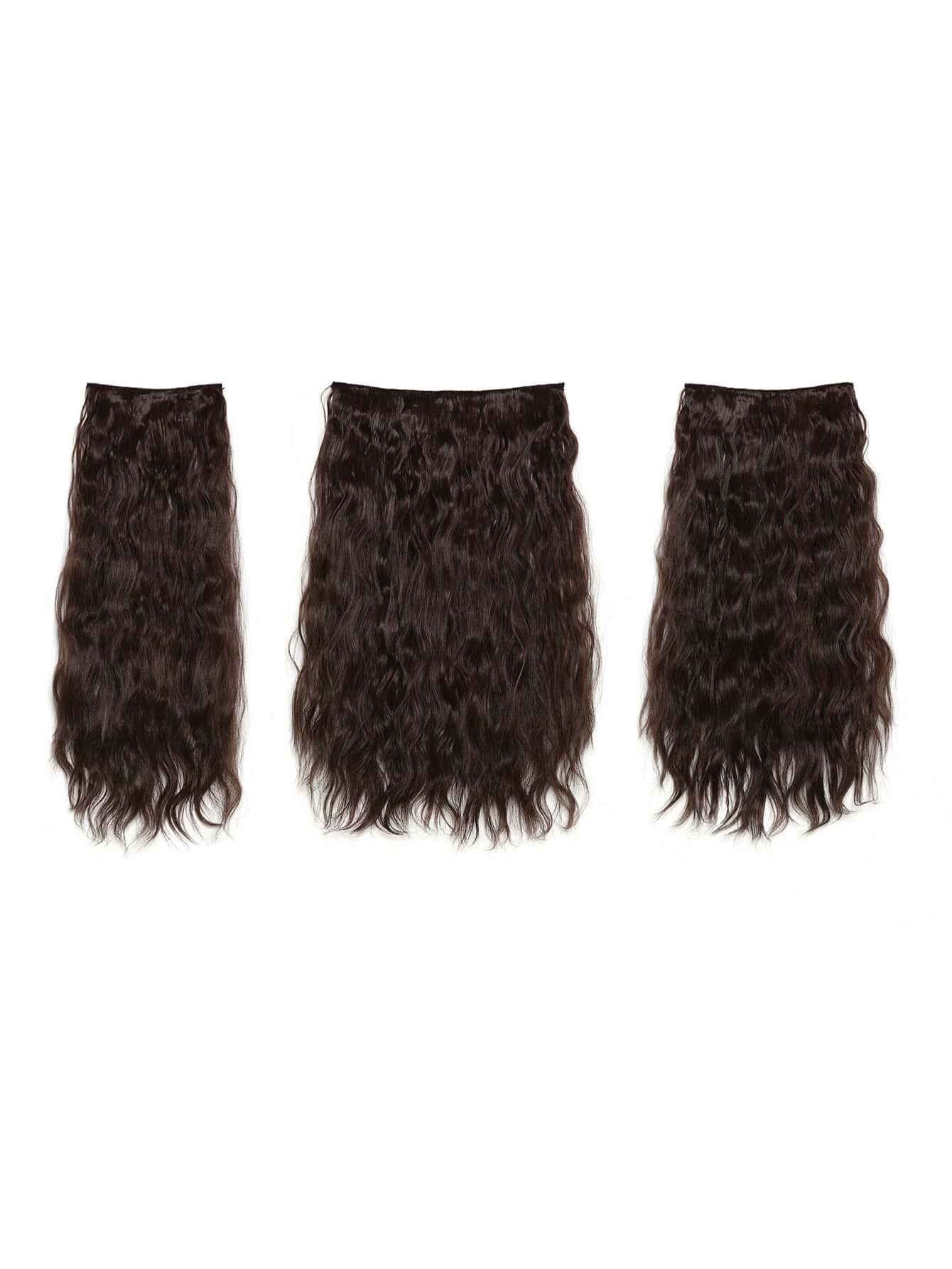 Image of Black Cherry Clip In Curly Hair Extension 3pcs