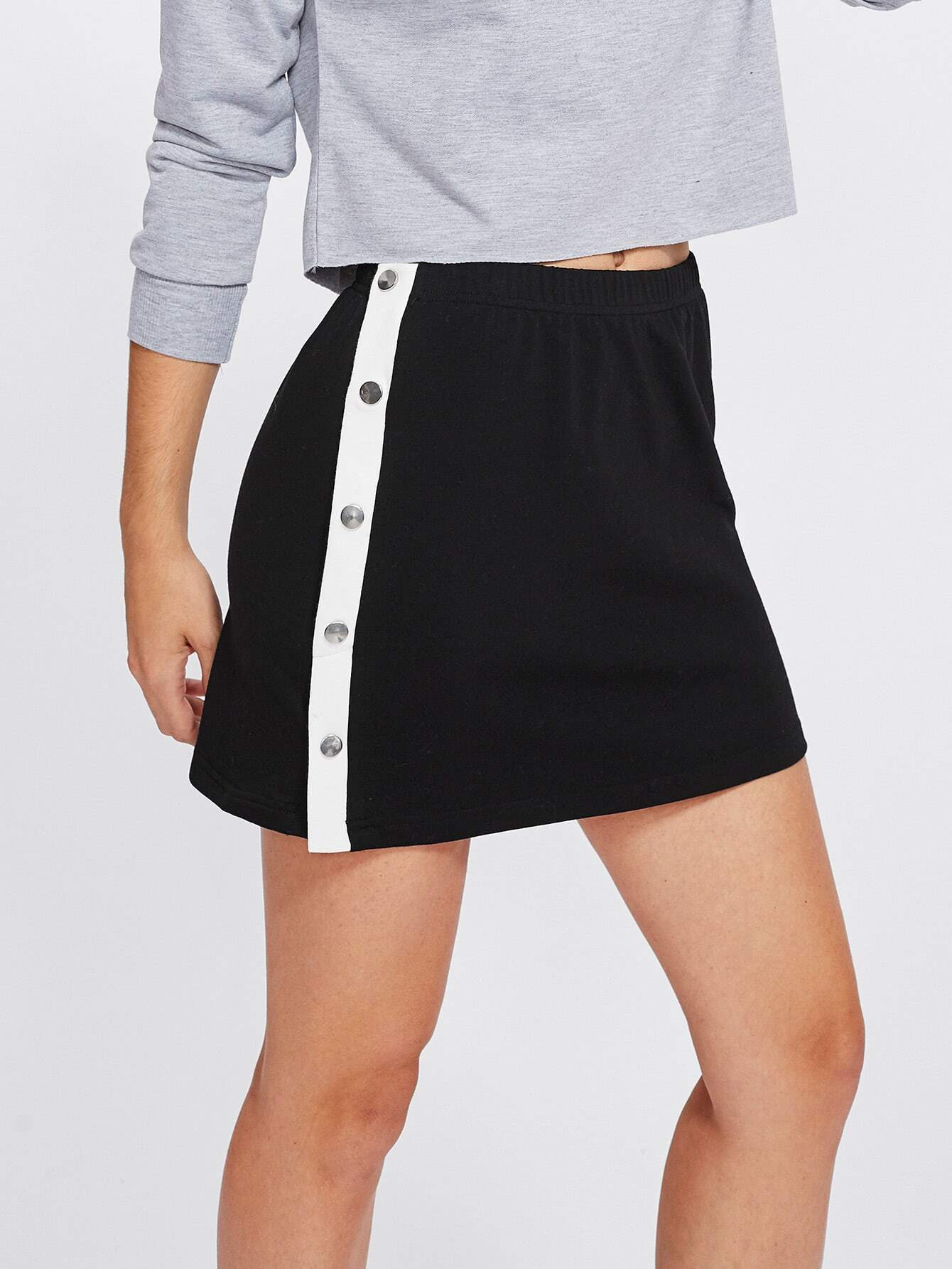 Contrast Snap Button Side Knit Skirt