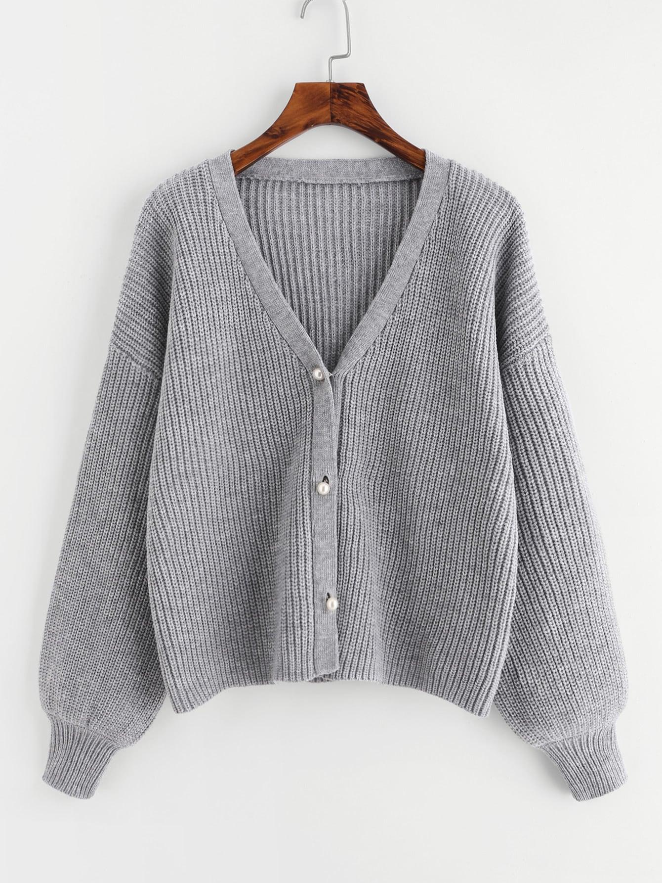 Drop Shoulder Pearl Buttoned Cardigan pearl embellished drop shoulder crop sweatshirt