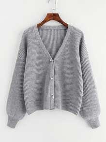 Drop Shoulder Pearl Buttoned Cardigan