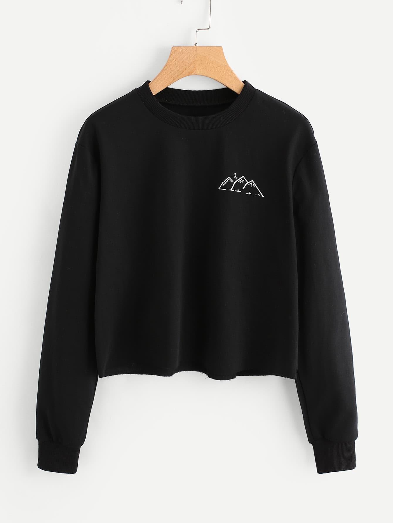 Raw Hem Graphic Print Sweatshirt faux fur cuff drop shoulder raw hem sweatshirt