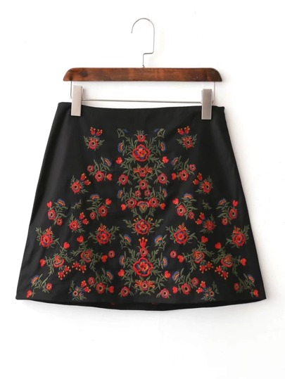 Flower Embroidery Side Zipper Skirt