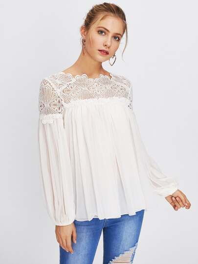 Guipure Lace Yoke Semi Sheer Smock Top
