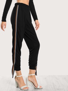 Side Hanging Striped Jogger Pants BLACK