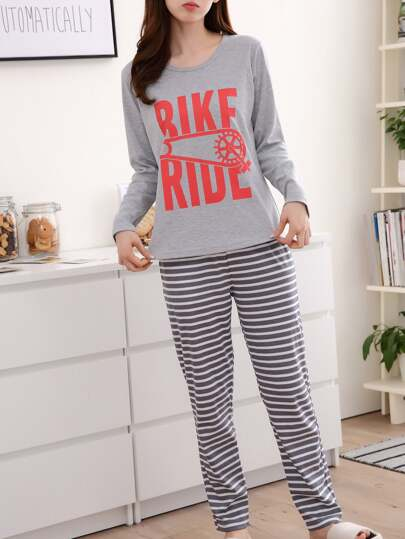 Camiseta estampada Marled Tee & Striped Pants Pj Set