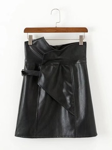 High Waist Asymmetrical PU Skirt