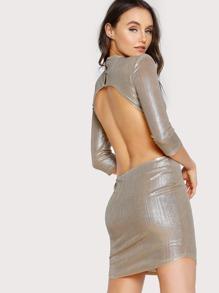 Open Back Geo Sequin Dress