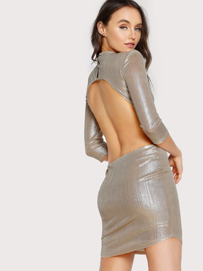 Open Back Geo Sequin Dress