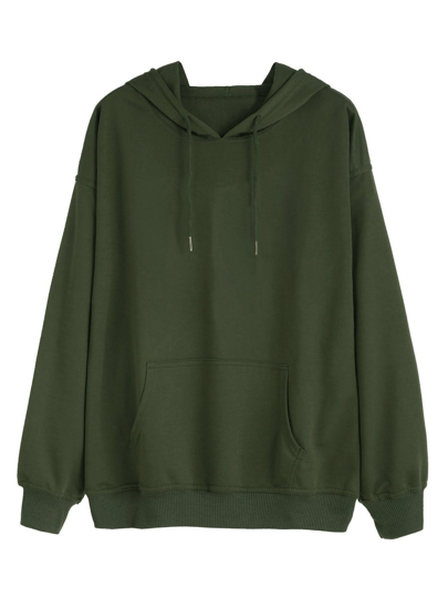 Army Green Drawstring Pocket Hooded Sweatshirt