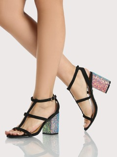 Glitter Accent Caged Heel BLACK