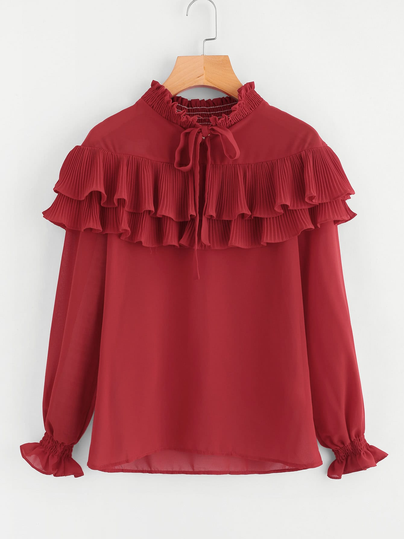 Shirred Collar And Cuff Pleated Frill Blouse frill detail pleated cuff and hem smock top