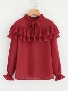 Shirred Collar And Cuff Pleated Frill Blouse