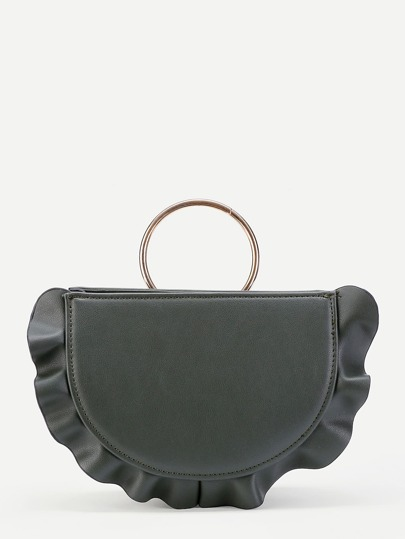 Ruffle Trim Ring Handle PU Shoulder Bag