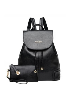 Faux Leather Drawstring Flap Backpack With Clutch