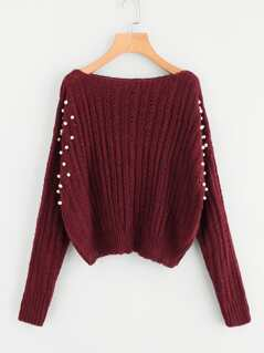 Pearl Embellishing Mixed Knit Jumper