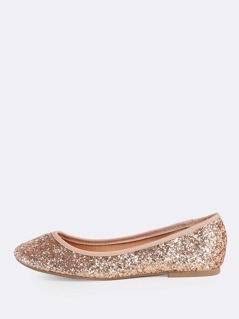 Round Toe Chunky Glitter Flats ROSE GOLD