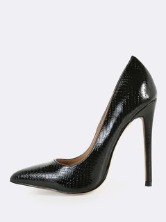 Point Toe Snake Print Heels BLACK