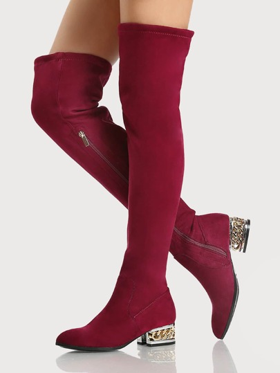 Mixed Metal Heel Faux Suede Boots BURGUNDY