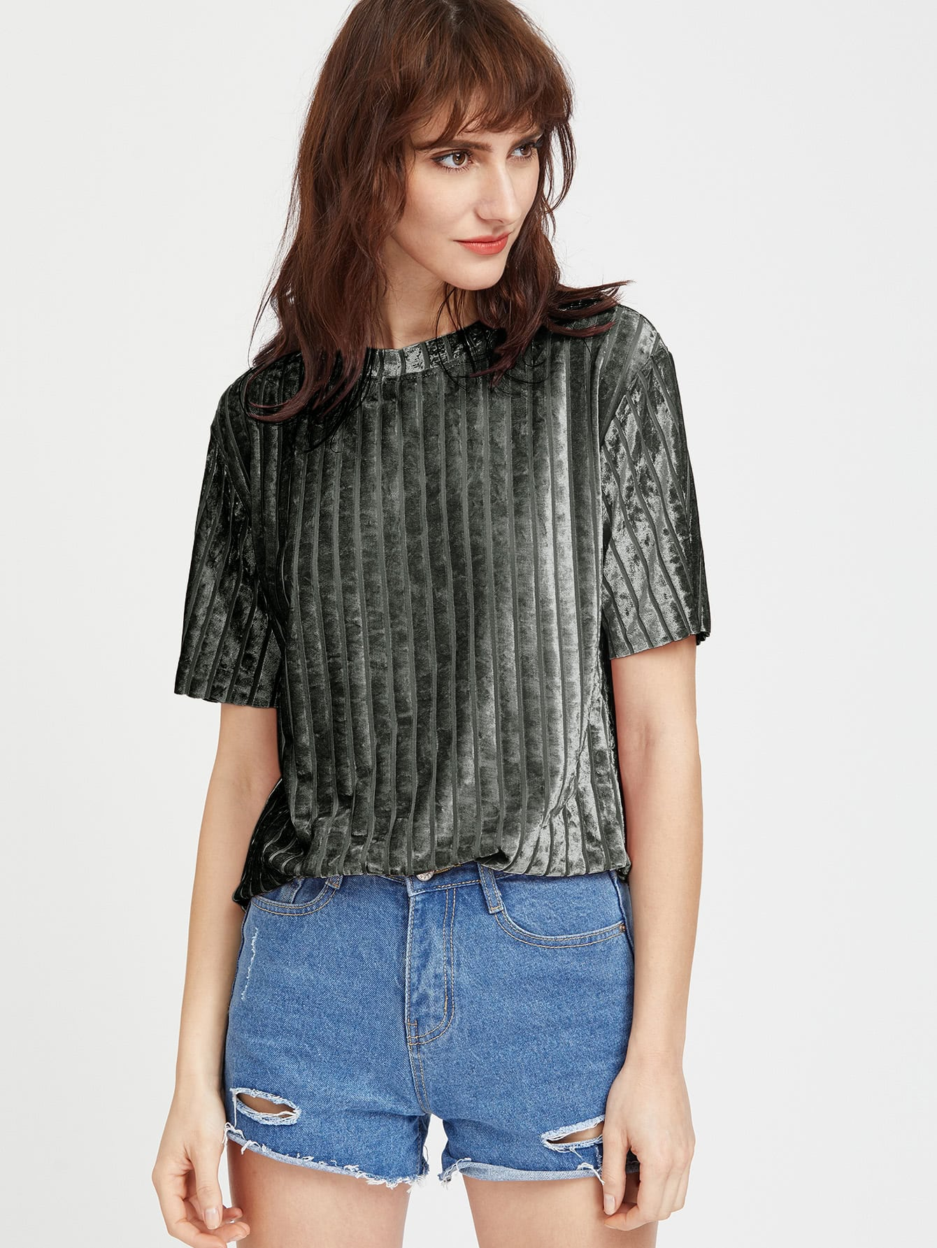 Ribbed Velvet Tee hollow lace shoulder knot front tee