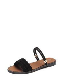 Scallop Detail Flat Slippers