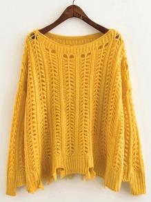 Pull tricoté avec pan déchiré effet ajouré